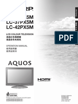 Sharp AQUOS LC32-37-42PX5M Operation Manual | Coaxial Cable