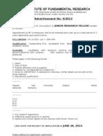 TIFR Jr Research Fellow Posts Recruitment 2013