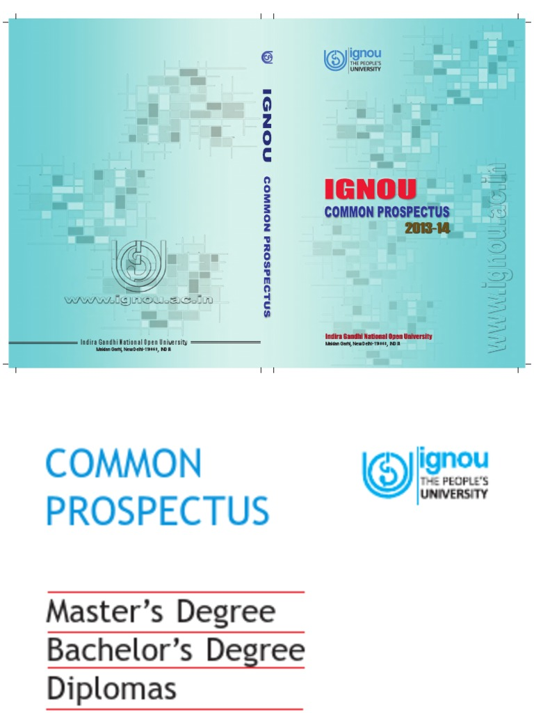 IGNOU Prospectus 2013-14 | Distance Education | University And ...