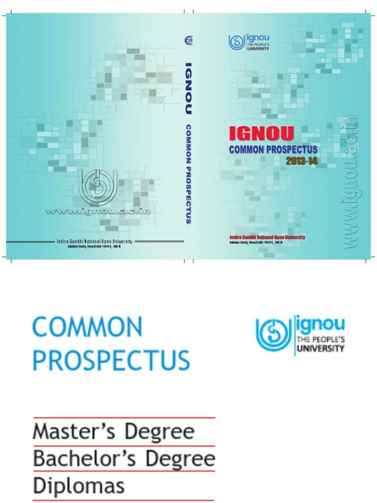 IGNOU Prospectus 2013-14 | Distance Education | University And ...