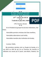 Discours Oscar Temaru - 19e sommet des pays du fer de lance mélanésien