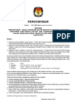 Pengumuman Pendaftaran Bakal Calon Walikota Tahun 2013