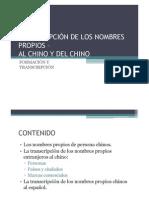 Los Nombres Propios Extranjeros en Chino