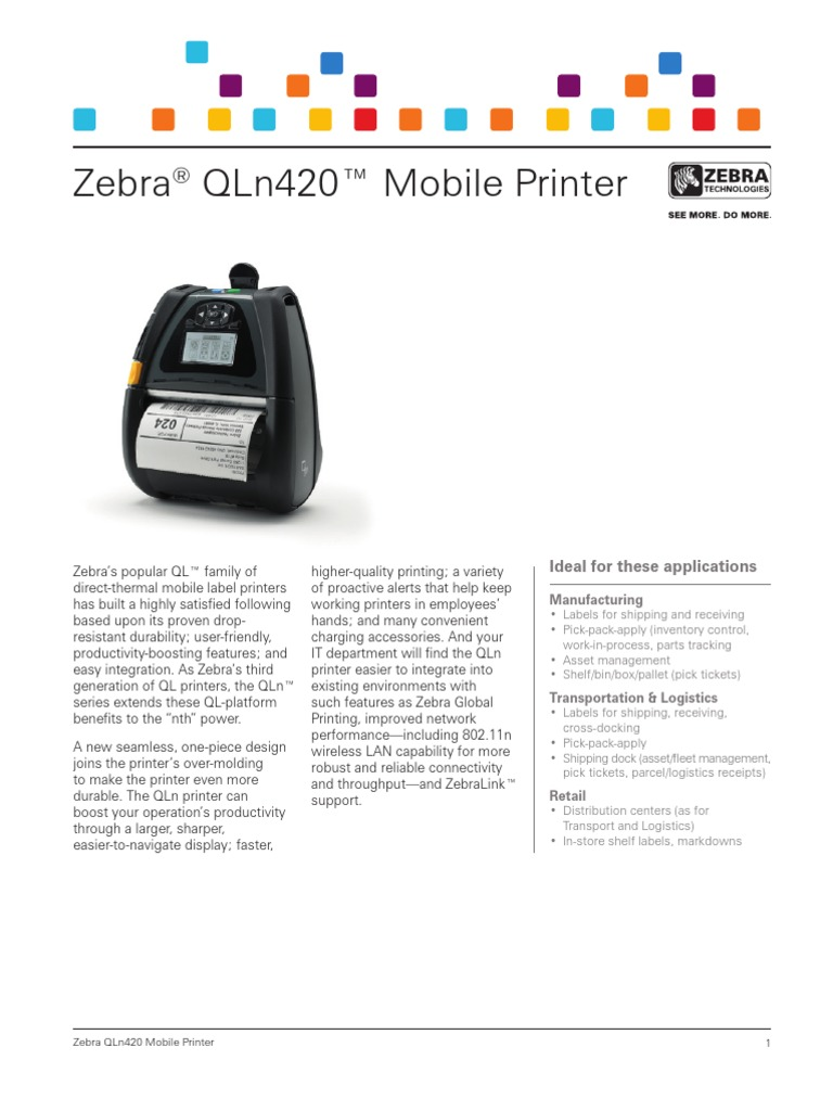 Zebra QLn420 Series Mobile Printer Brochure | Battery Charger