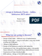 Design of Adders,Subtractors, BCD Adders Week6 and 7 - Lecture 2