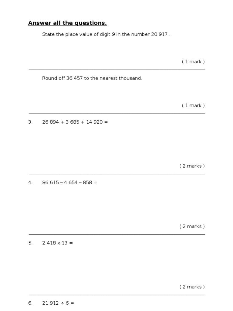 Soalan Matematik Pksr Tahun 4 Paper 2 Physics Mathematics Mathematics