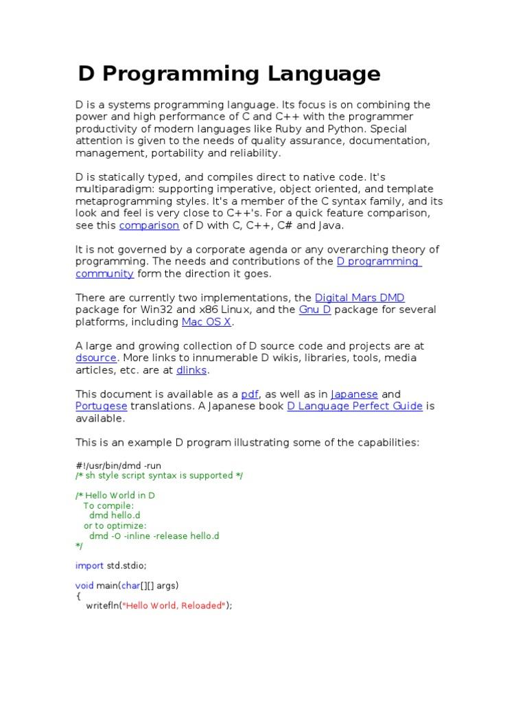 8825f18585f26 New D Prog Language   C++   C (Programming Language)