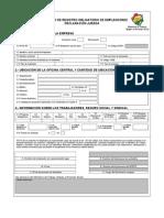 Formulario de Registro Obligatorio de Empleadores (Con Instrucivo)