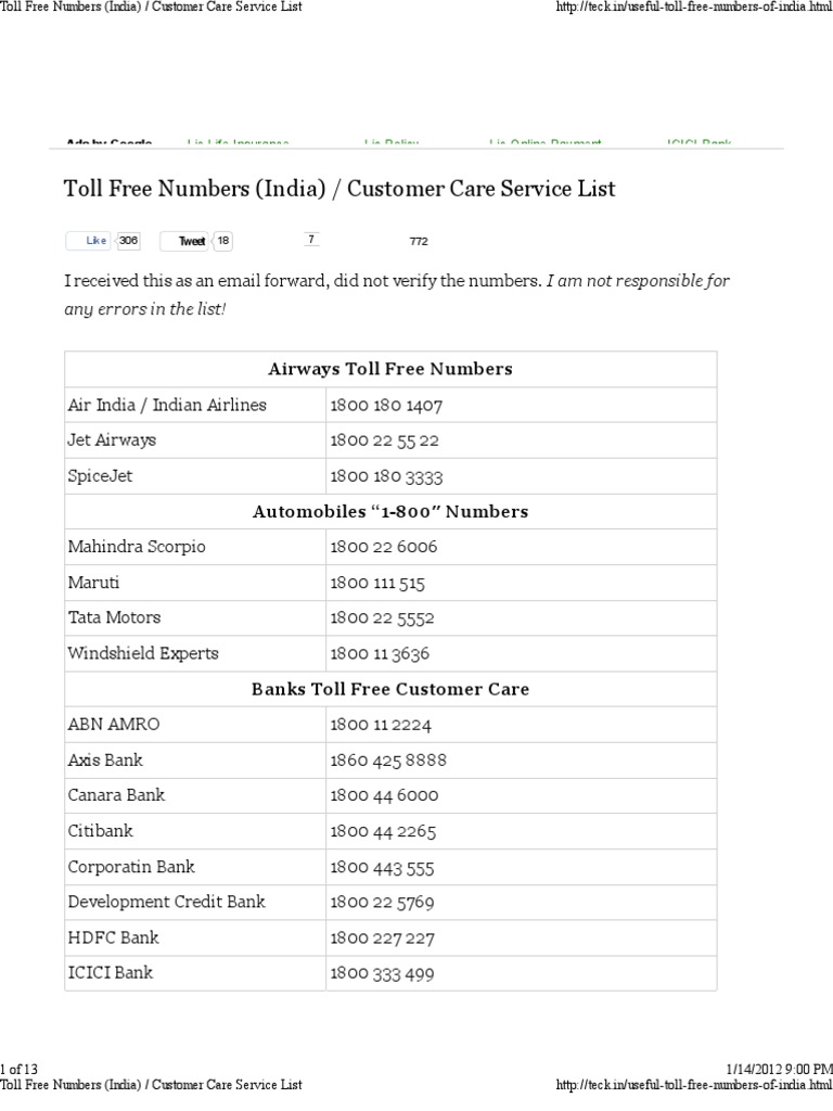 toll numbers customer care service list