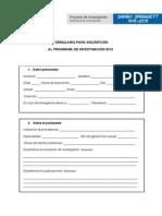 FORMULARIO PARA INSCRIPCIÓN- Programa de investigación