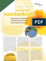 Klimaschutz mit Solarenergie -  Bürgersolarstromanlagen und Photovoltaik-Fonds in der Region Hannover