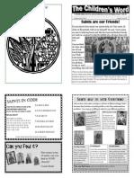 Children's Word Sunday bulletin for Sunday of All Saints, June 30, 2013