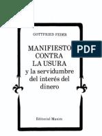 Manifiesto Contra La Usura - Gottfried Feder