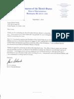 US Congressman David Loebsack (D - Iowa) September 1, 2010 letter to Lucas Smith.