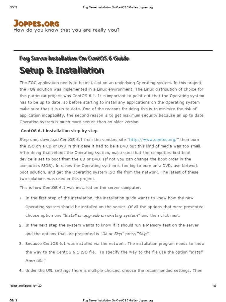 Fog Server Installation on CentOS 6 Guide - Joppes   Installation
