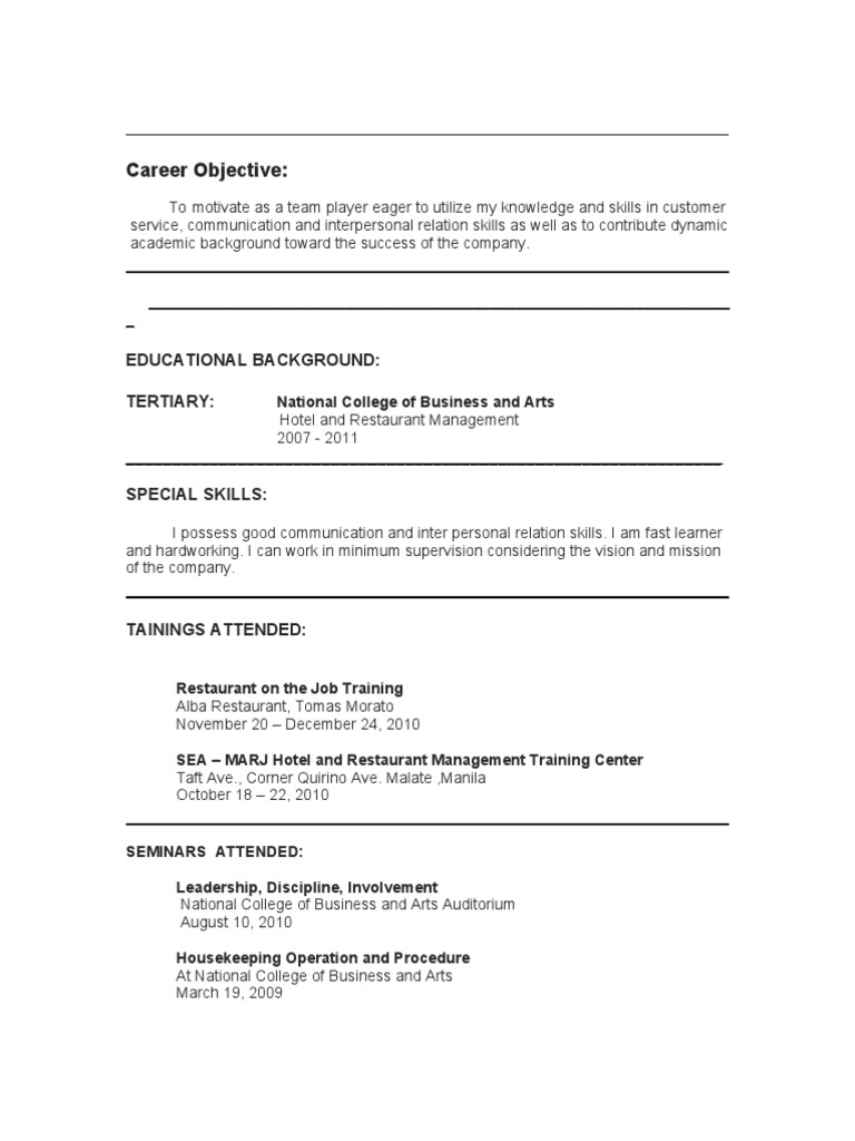resume hrm - Special Skills For Housekeeping
