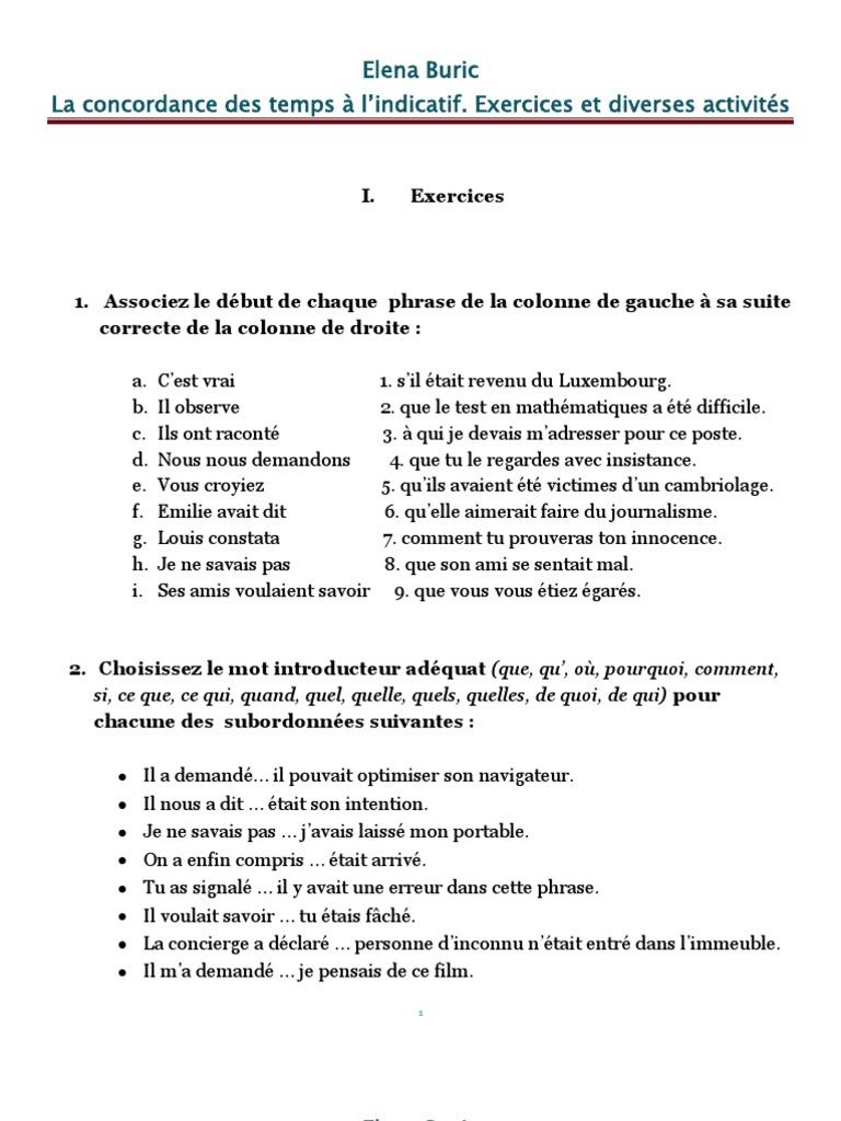 La concordance des temps à l'indicatif. Applications ...