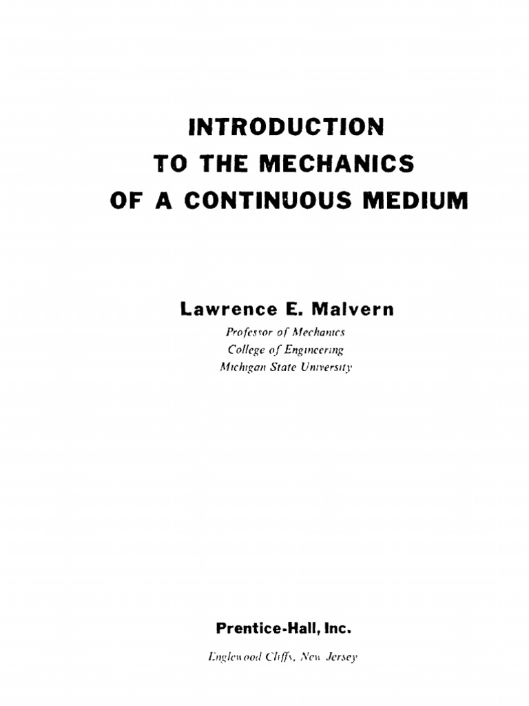 introduction to the mechanics of a continuous medium deformation rh scribd com
