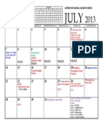 CALENDAR - JULY Up to First Quarter Exams