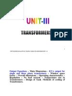 Unit III Transformers