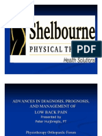 Presentation on advances in the physical therapy diagnosis, prognosis, and management of patients with low back pain