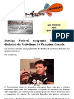 Justiça Federal suspende bloqueio de dinheiro da Prefeitura de Campina Grande