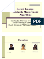 Record Linkage Similarity Measures and Algorithms