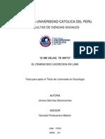 Si me dejas, te mato. El feminicidio uxoricida en Lima. Tesis de licenciatura en Sociología de Jimena Sánchez Barrenechea