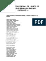 LISTADO PROVISIONAL DE LIBROS DE TEXTO de 6º PRIMARIA PARA EL CURSO 13