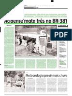 2004.12.24 - Acidente mata três na BR-381 - Estado de Minas