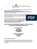 Centre County Commissioners Reply to When is Next County Real Estate Reassessment