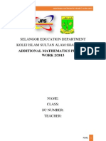 Additional Mathematics Project Work Index Number