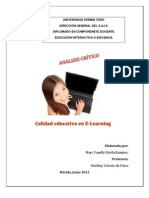 Analisis Critico Calidad Educ. en E-learning
