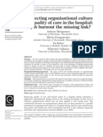 Connecting Organisational Culture and Quality of Care in the Hospital_is Job Burnout the Missing Link
