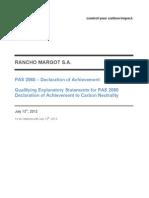 Rancho Margot Carbon Neutrality Declaration of Achievement