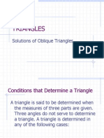 Solutions of Oblique Triangles