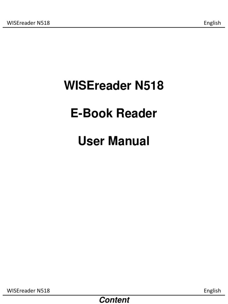 Wisereader N518 E-Book Reader User Manual