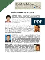 2nd ASEAN Rice Trade Forum 2013 Profile of Speakers