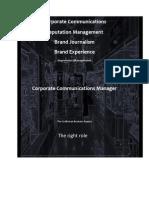 Corporate Communications Reputation Management Brand Journalism Brand Experience Impression Management