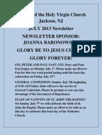 Nativity of the Holy Virgin Church - Newsletter # 11