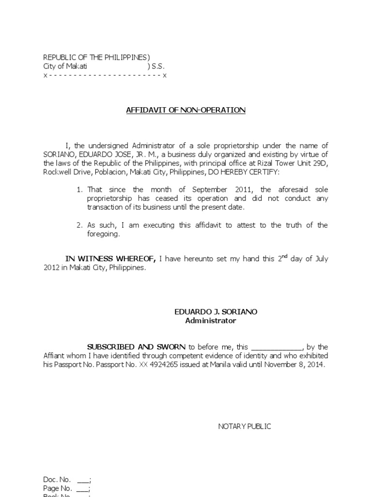 affidavit of non