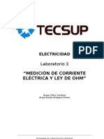 Lab 3 Medición de corriente eléctrica y Ley de Ohm