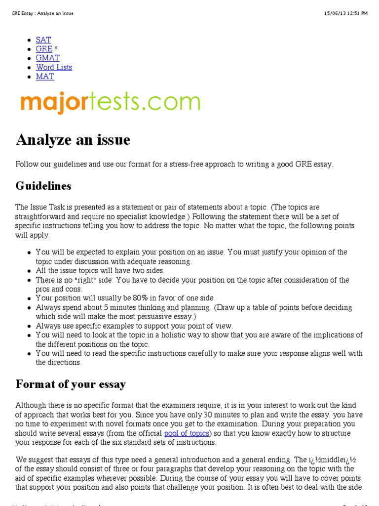 analysis argument essay gre Tips on how to write a gmat analysis of an argument essay and guidelines on how to structure it.