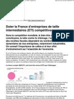 Doter la France d'entreprises de taille intermédiaires (ETI) compétitives