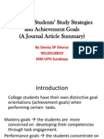Assessing Students' Study Strategies and Achievement Goals