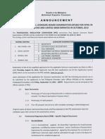 Special Professional Licensure Board Examination (SPLBE) October 2013