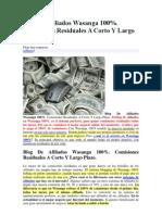 Blog de Afiliados Wasanga 100%. Comisiones Residuales a Corto Y Largo Plazo.