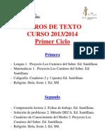 Listado Libros de Texto Primer Ciclo 13-14