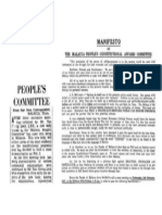 MANIFESTO OF THE MALACCA PEOPLE'S CONSTITUTIONAL AFFAIRS COMMITTEE