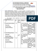 IRCON International Ltd Recruitment of Director, General Manager